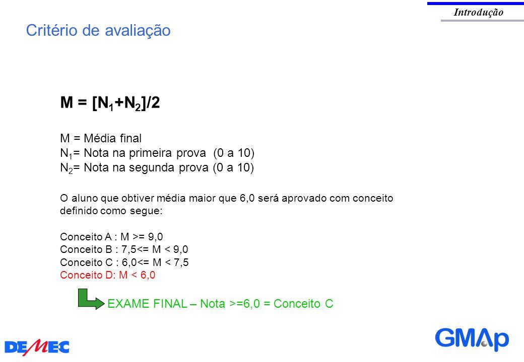 Critério de avaliação M = [N1+N2]/2 M = Média final